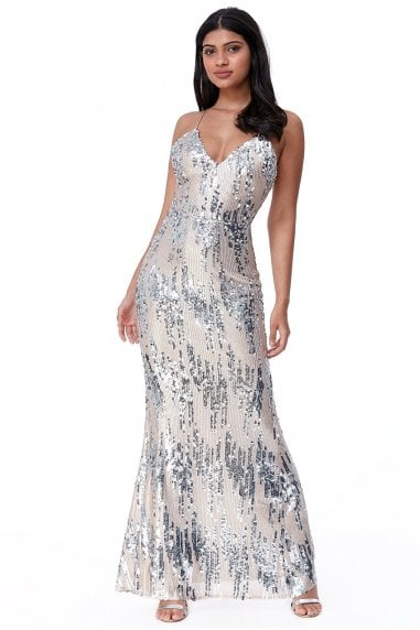 Goddiva 3D Sequin Strappy Maxi Dress - Champagne