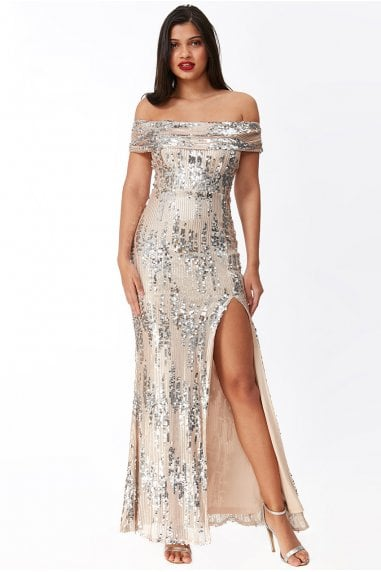 Goddiva 3D Sequin Bardot Maxi Dress - Champagne