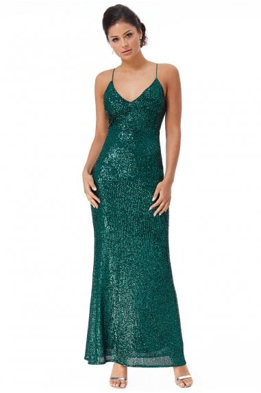 Goddiva Sequin Cross Strap Maxi Dress - Emerald