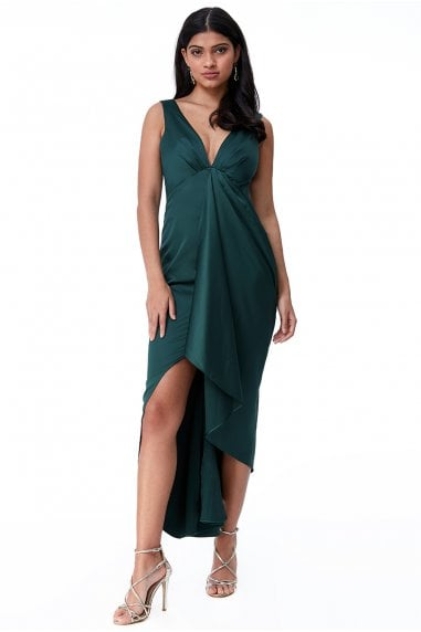 Goddiva Waterfall Satin Maxi Dress - Emerald