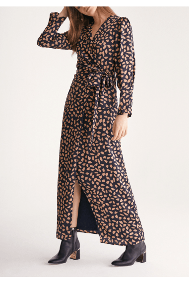 Petal Print Maxi Wrap Dress in Navy Petal Print