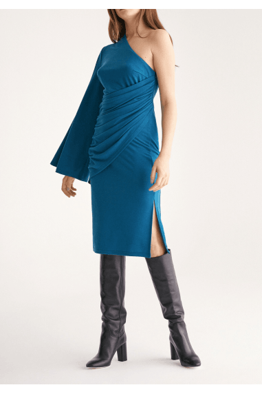 Draped One Shoulder Dress with Ruched Waist and Side Split in Turquoise