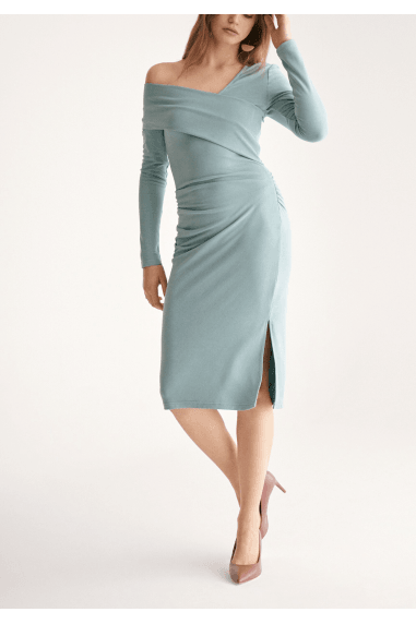 Asymmetric Bardot Dress with Side Split in Teal
