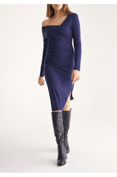 Asymmetric Bardot Dress with Side Split in Navy