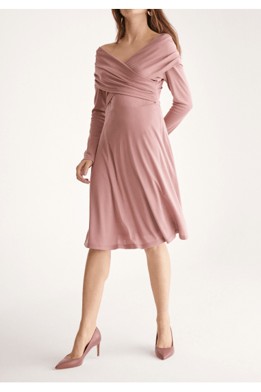 Skater Dress with Cross Wrap Shoulders in Blush
