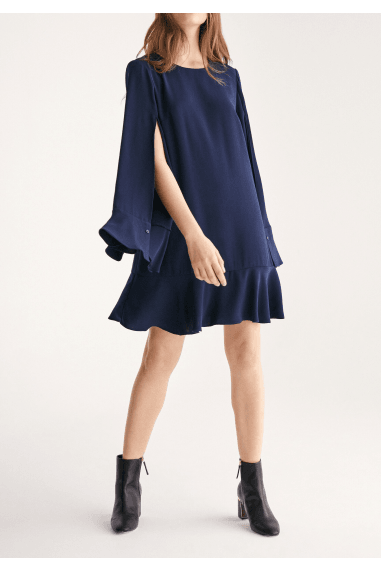 Cape Sleeve Swing Dress with Peplum Hem in Navy