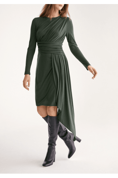 Jersey Dress with Ruched Detail and Side Skirt Drape in Dark Green