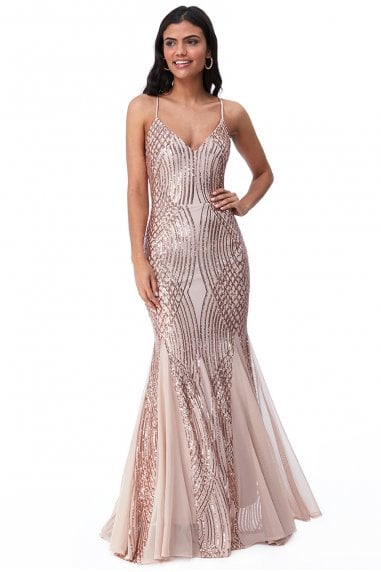 Goddiva Geometric Sequin Maxi Dress - Champagne