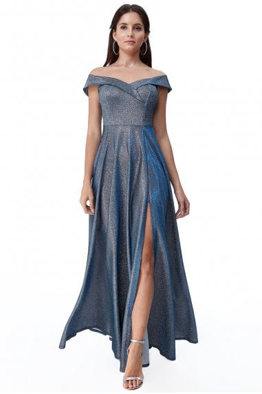 Goddiva Bardot Lurex Maxi Dress - Winterblue