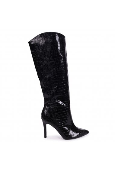 CONNIE - Black Croc Patent Cowboy Style Stiletto Long Boot