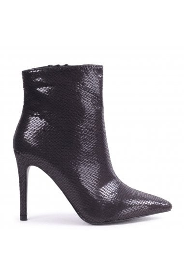 JASMIN - Black Snake Print Pointed Stiletto Boot Heel