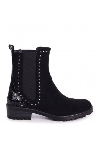 RAIYA - Black Suede And Croc Patent Chelsea Boot With Studded Detail