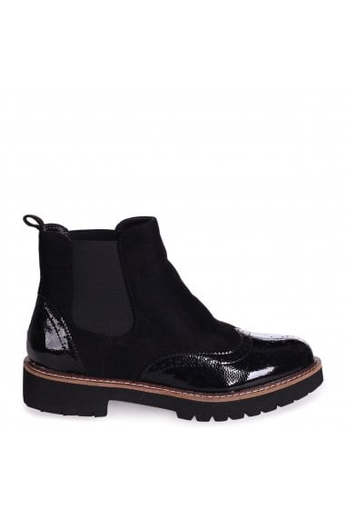 CLEO - Black Patent & Suede Brogue Style Chelsea Boot