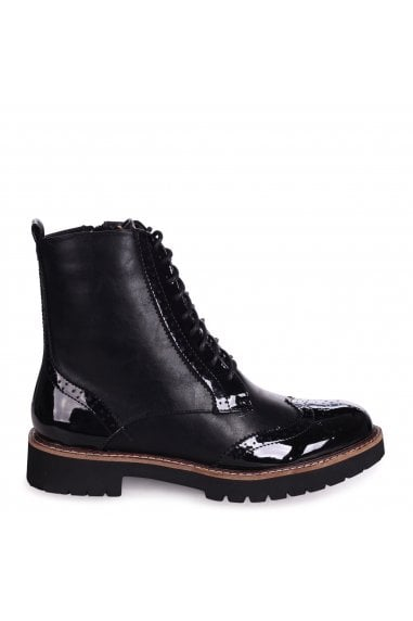 JESS - Black Patent & Nappa Brogue Style Lace Up Military Boot