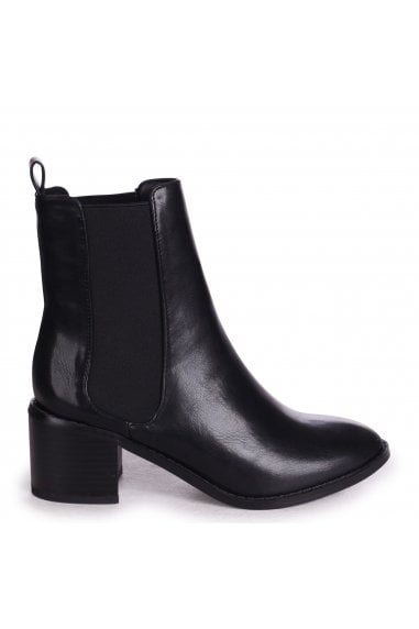 KAY - Black Nappa Pull On Chelsea Boot With Stacked Block Heel