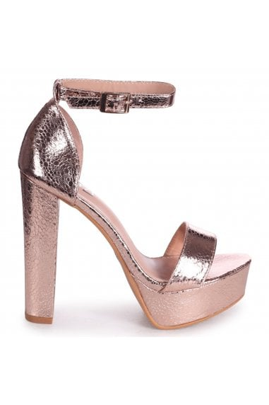 ELLEN - Rose Gold Cracked Metallic Closed Back Barely There Platform Block Heel