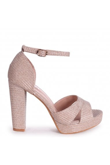 OLIVIA - Rose Gold Glitter Textile Closed Back Platform Block Heel