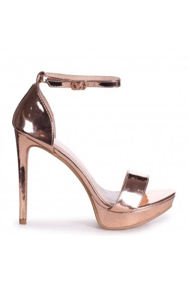 SOPHIA - Rose Gold Mirror Barely There Stiletto Platform Heels