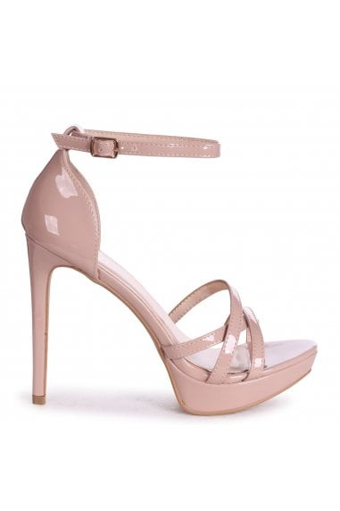 AMELIA - Nude Patent Stiletto Platform With Multiple Front Straps