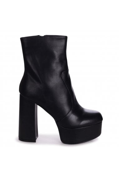 AXELLE - Black Nappa Extreme Chunky Platform Block Heeled Ankle Boots