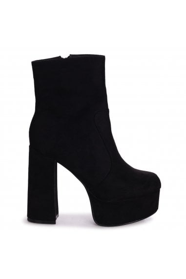 AXELLE - Black Suede Extreme Chunky Platform Block Heeled Ankle Boots