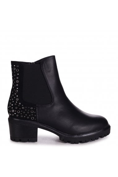 SIAN - Black Nappa & Suede Heeled Chelsea Boot With Studded Detail
