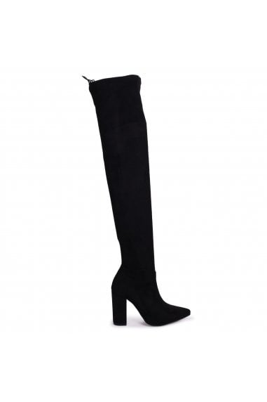 REIGN - Black Suede Pointed Block Heeled Over The Knee Boot with Tie Up Back