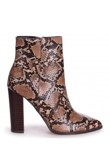 LUCY - Mocha Snake Nappa Ankle Boot With Stacked Block Heel