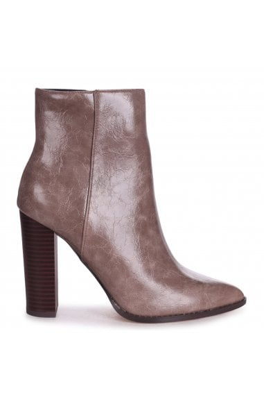LUCY - Taupe Cracked Faux Leather Ankle Boot With Stacked Block Heel