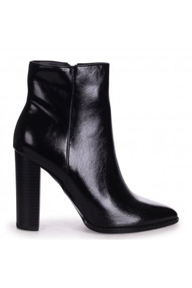 LUCY - Black Nappa Ankle Boot With Stacked Block Heel