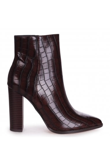 LUCY - Brown Croc Ankle Boot With Stacked Block Heel