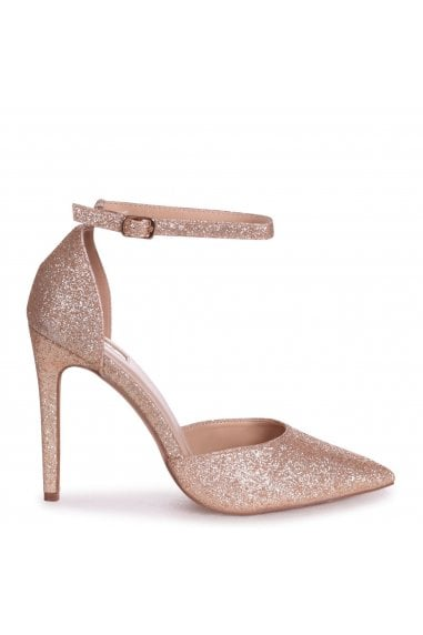 WHITNEY - Gold Glitter Court Heel With Ankle Strap