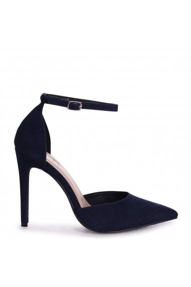 WHITNEY - Navy Suede Court Heel With Ankle Strap