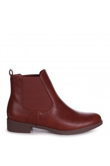Aida - Tan Nappa Classic Chelsea Boot With Elasticated Side Panels