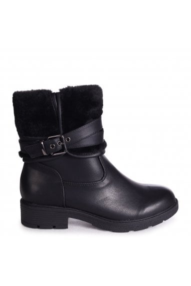 SOFIA - Black Nappa Boot With Faux Fur Folded Cuff & Buckle Detail