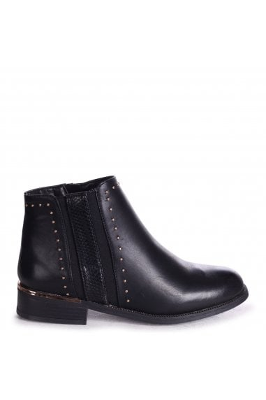 MARIELLE - Black Nappa Ankle Boot With Studded And Snake Detail