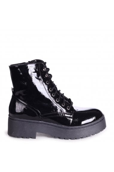 DESIRE - Black Patent Military Style Lace Up Boot With Chunky Black Rubber Sole