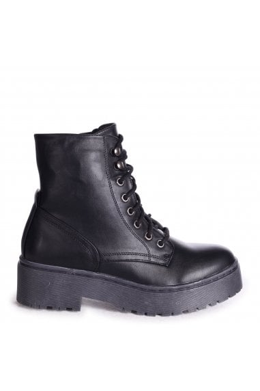 DESIRE - Black Nappa Military Style Lace Up Boot With Chunky Black Rubber Sole