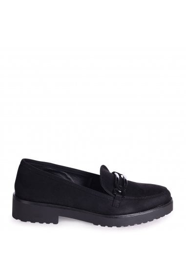 LOLITA - Black Suede Chunky Loafer With Front Chain Detail