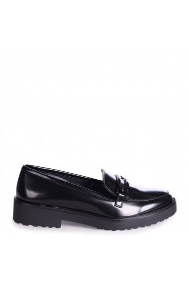 LOLITA - Black High Shine Chunky Loafer With Front Chain Detail