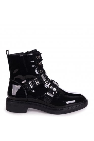 GODDESS - Black Mirror Patent Military Boot With Velcro Embellished Front Straps