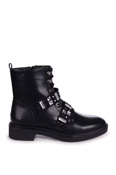 GODDESS - Black Nappa Military Boot With Velcro Embellished Front Straps