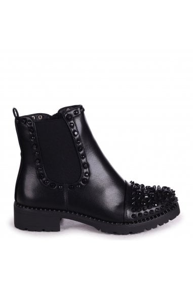 ELLE - Black Nappa Classic Chelsea Boot With Black Studded Toe & Trim Detail