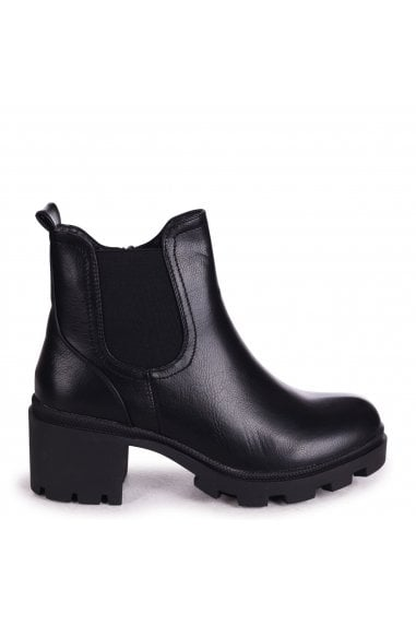 MICCA - Black Nappa Chunky Chelsea Style Boot With Cleated Sole