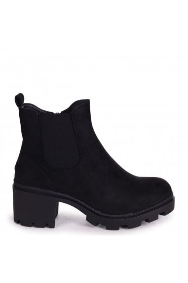 MICCA - Black Suede Chunky Chelsea Style Boot With Cleated Sole
