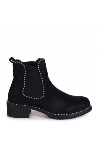 ALANNA - Black Suede Classic Chelsea Boot With Studded Detail