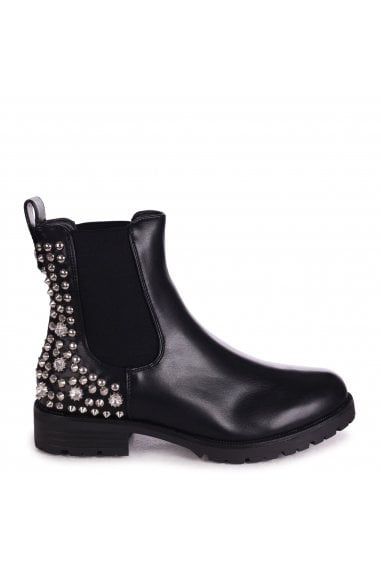FANCY - Black Nappa Cleated Sole Chelsea Boot With Studded & Diamante Detail