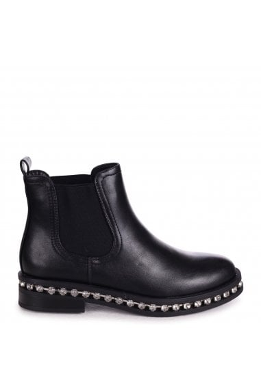 Layna - Black Nappa Pull On Chelsea Boot With Diamante Trim Around Sole