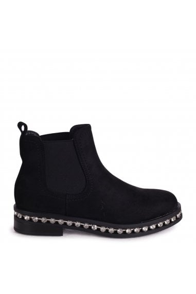 Layna - Black Suede Pull On Chelsea Boot With Diamante Trim Around Sole