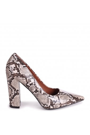 TIFFANY - Beige Snake Block High Heel Heel Court Shoe